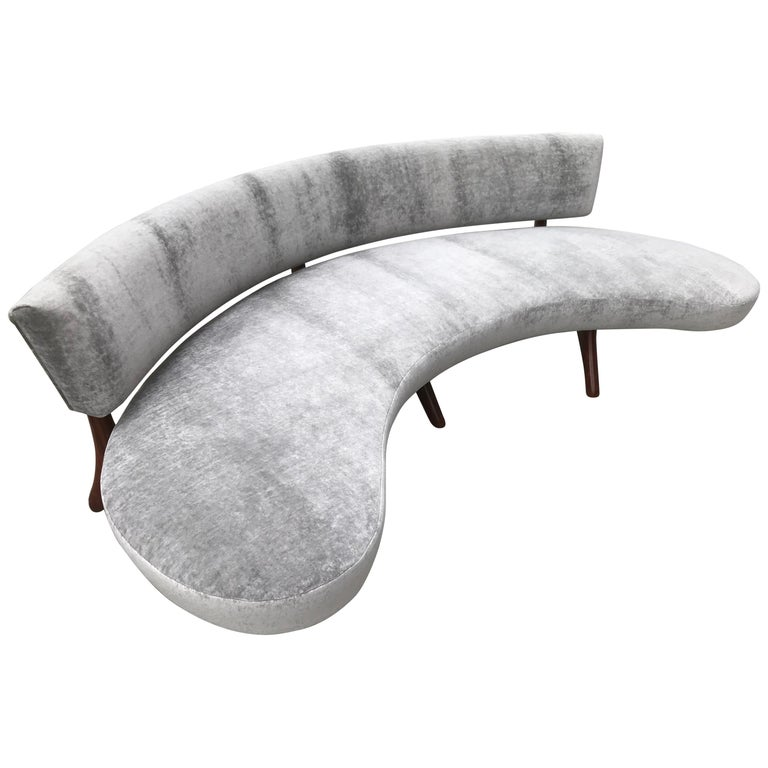Curved Floating Sofa: Mid-Century Floating Curved Sofa For Sale At 1stdibs