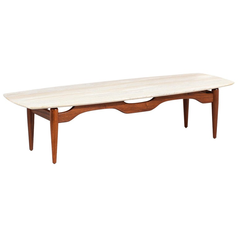 Midcentury Floating Top Surfboard Coffee Table With Travertine Top