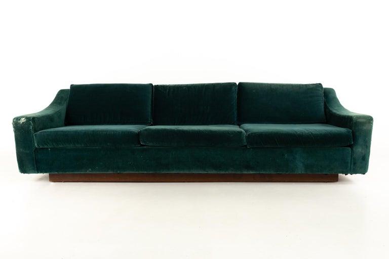 Mid-Century Modern Mid Century Floating Walnut Plinth Base Sofa  For Sale