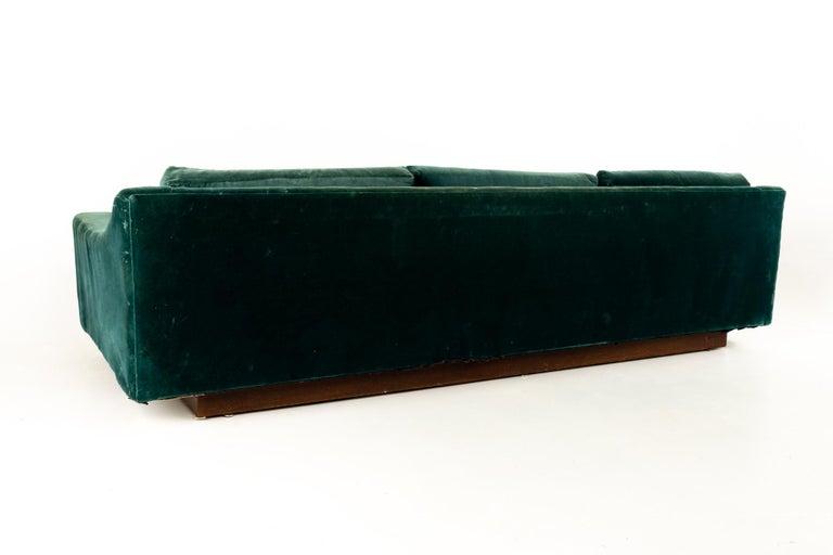 American Mid Century Floating Walnut Plinth Base Sofa  For Sale
