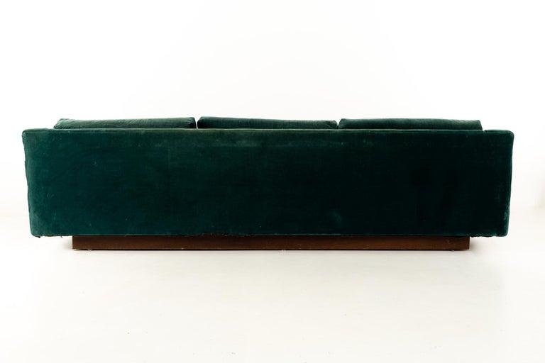 Late 20th Century Mid Century Floating Walnut Plinth Base Sofa  For Sale