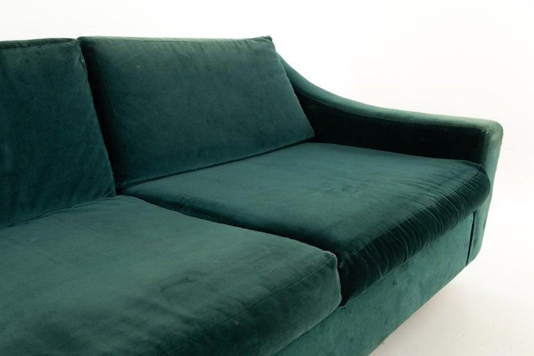 Upholstery Mid Century Floating Walnut Plinth Base Sofa  For Sale