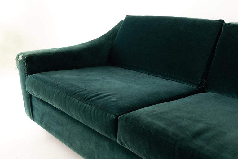 Mid Century Floating Walnut Plinth Base Sofa  For Sale 1