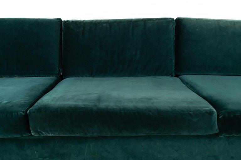 Mid Century Floating Walnut Plinth Base Sofa  For Sale 2