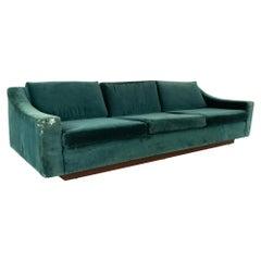Mid Century Floating Walnut Plinth Base Sofa
