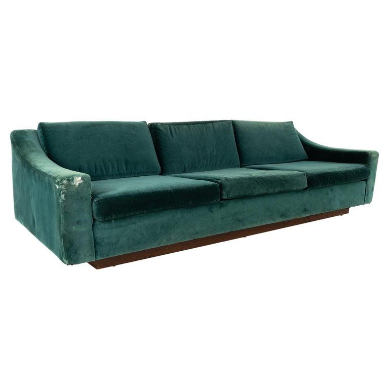 Mid Century Floating Walnut Plinth Base Sofa  For Sale