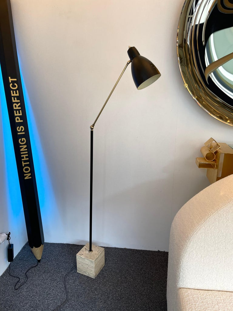 Mid Century Floor Lamp Brass and Lacquered Metal, Italy, 1950s For Sale 5