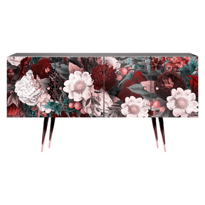 Midcentury Floral Black wood Rose Gold Sideboard Credenza