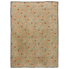 Midcentury Floral Blue, Pink and Black Handwoven Wool Hooked Rug