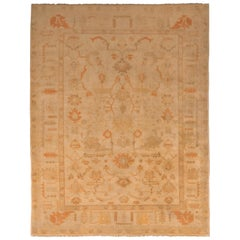 Midcentury Floral Oushak Rug Beige Brown Orange Vintage Turkish Rug