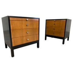 Mid-Century Florence Knoll Style Lacquered Case Nightstands Cabinets in Walnut