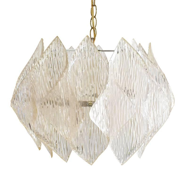 Midcentury Folded Acrylic Clear Hard Wired Chandelier in the Style of Kalmar