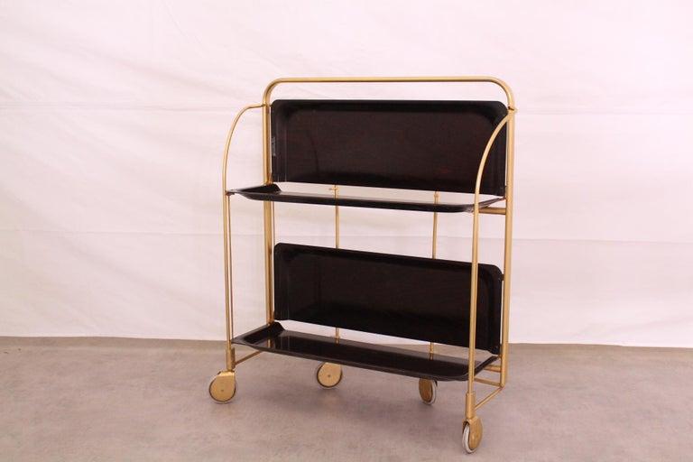 Mid-Century Modern Midcentury Folding Bar Cart Trolley For Sale