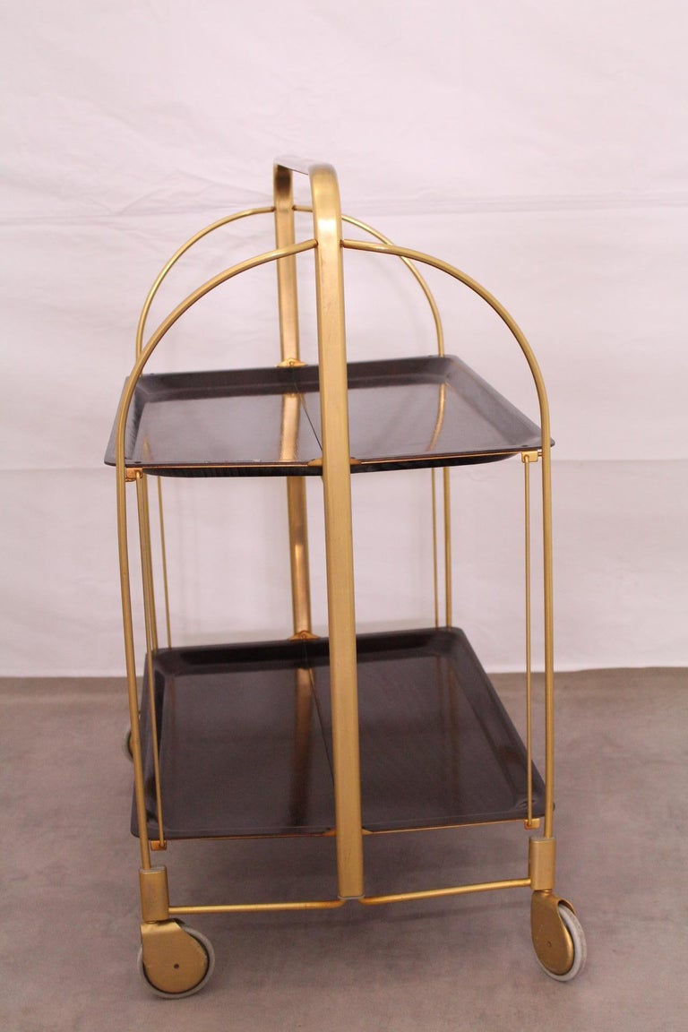 20th Century Midcentury Folding Bar Cart Trolley For Sale