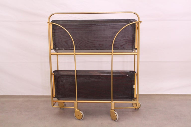 Metal Midcentury Folding Bar Cart Trolley For Sale
