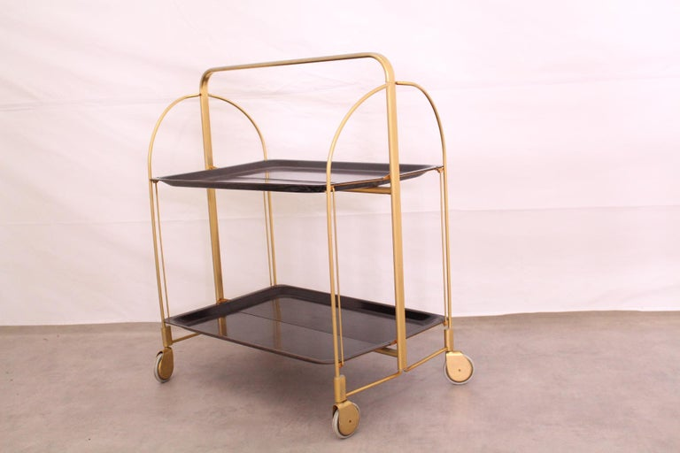 Midcentury Folding Bar Cart Trolley For Sale 2