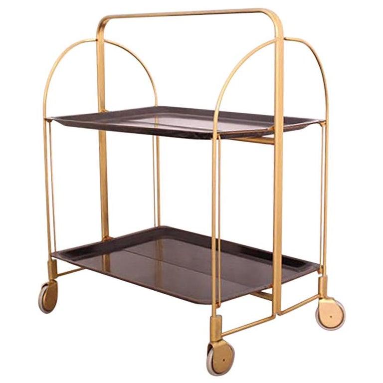 Midcentury Folding Bar Cart Trolley For Sale