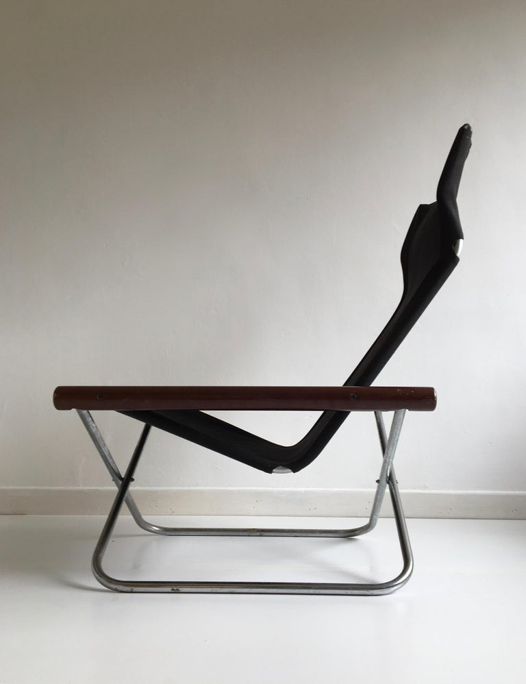 Mid-Century Modern Midcentury Folding Black Canvas 'NY' Chair by Takeshi Nii, Japan, Designed, 1958 For Sale