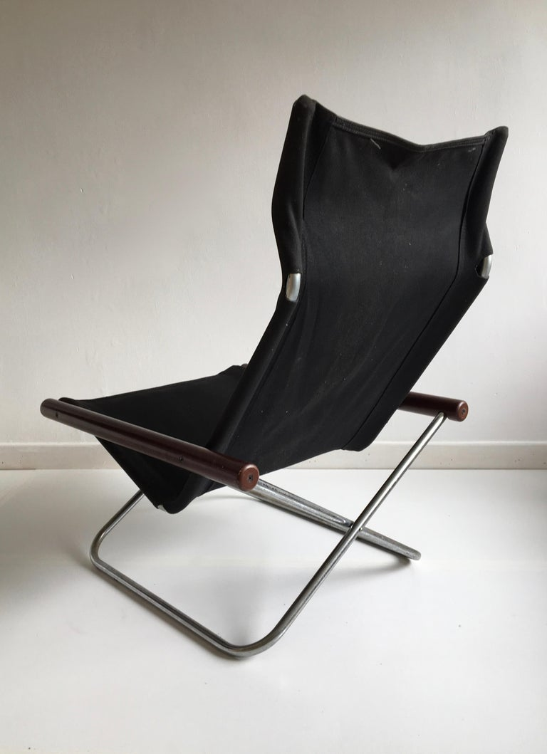 Italian Midcentury Folding Black Canvas 'NY' Chair by Takeshi Nii, Japan, Designed, 1958 For Sale