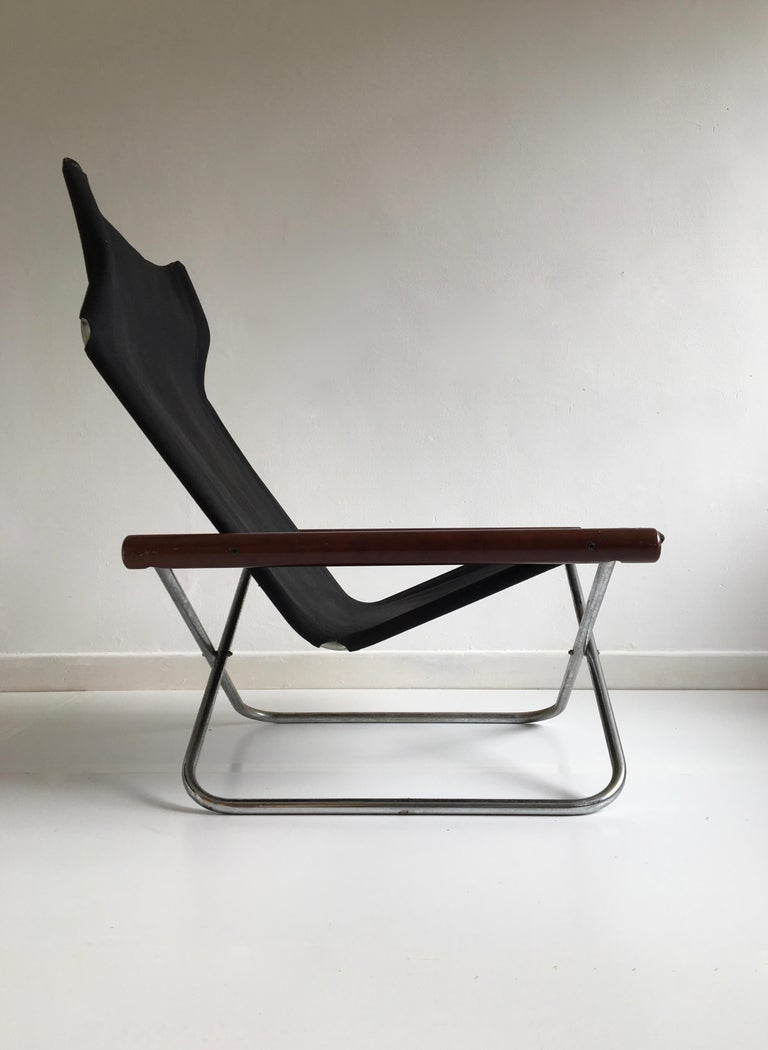 Midcentury Folding Black Canvas 'NY' Chair by Takeshi Nii, Japan, Designed, 1958 In Good Condition For Sale In London, GB