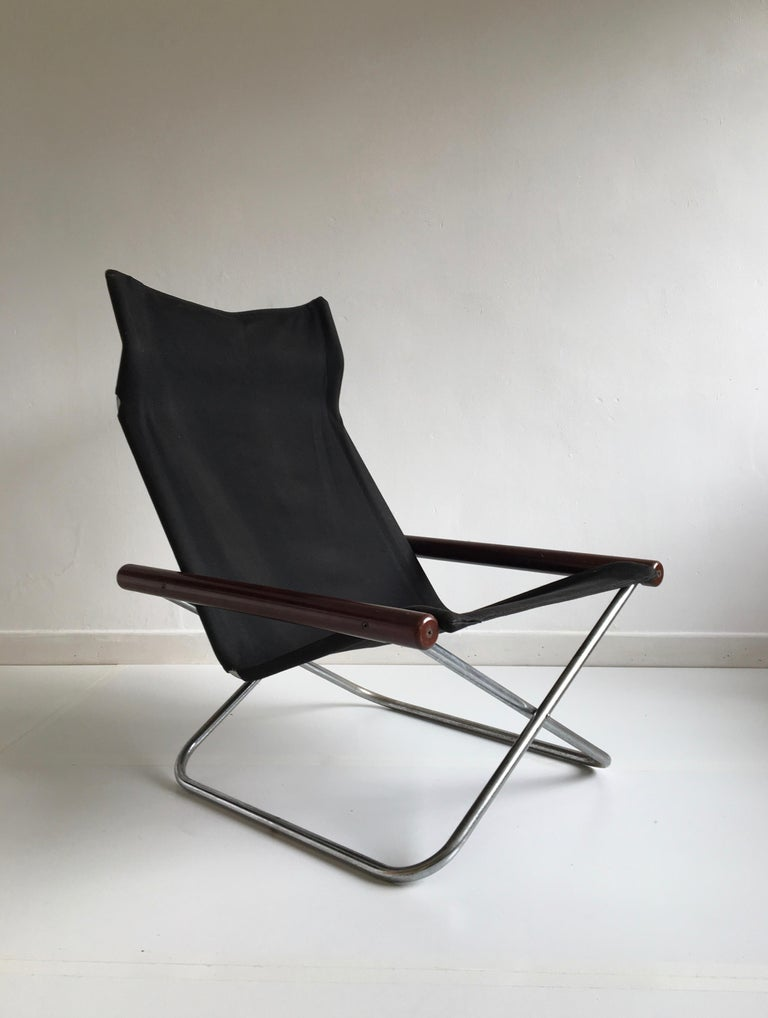 Mid-20th Century Midcentury Folding Black Canvas 'NY' Chair by Takeshi Nii, Japan, Designed, 1958 For Sale