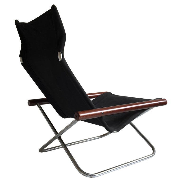 Midcentury Folding Black Canvas 'NY' Chair by Takeshi Nii, Japan, Designed, 1958 For Sale