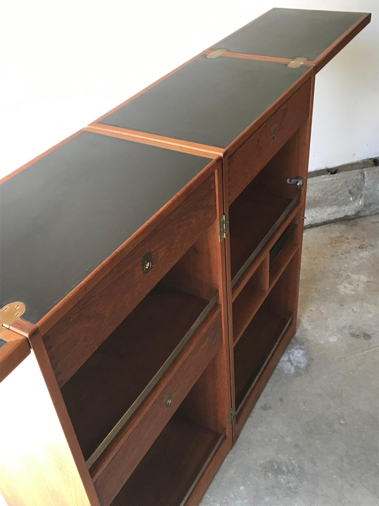 Mid Century Folding Cocktail Bar Cabinet by Reno Wahl Iverson, Denmark, 1960s In Good Condition For Sale In Bedford Hills, NY