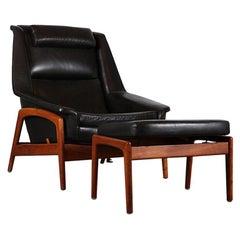 Mid Century Folke Ohlsson Profile Teak & Leather Armchair with Footstool, C.1960