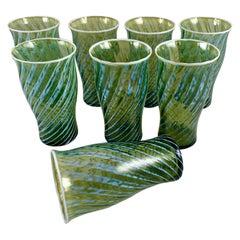 Mid-Century Fostoria Opalescent Swirl Moss Green Blown Highball Glasses, S/8