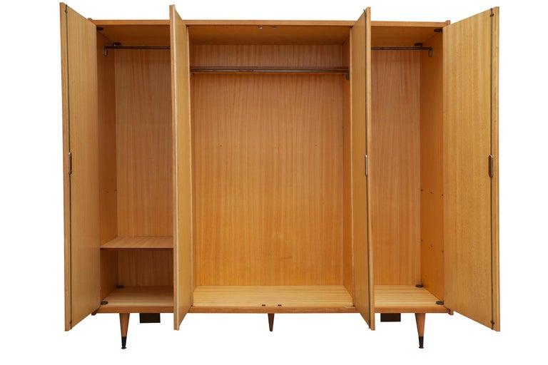 Mid-Century Modern Midcentury Four Doors Sycomore Wardrobe, France