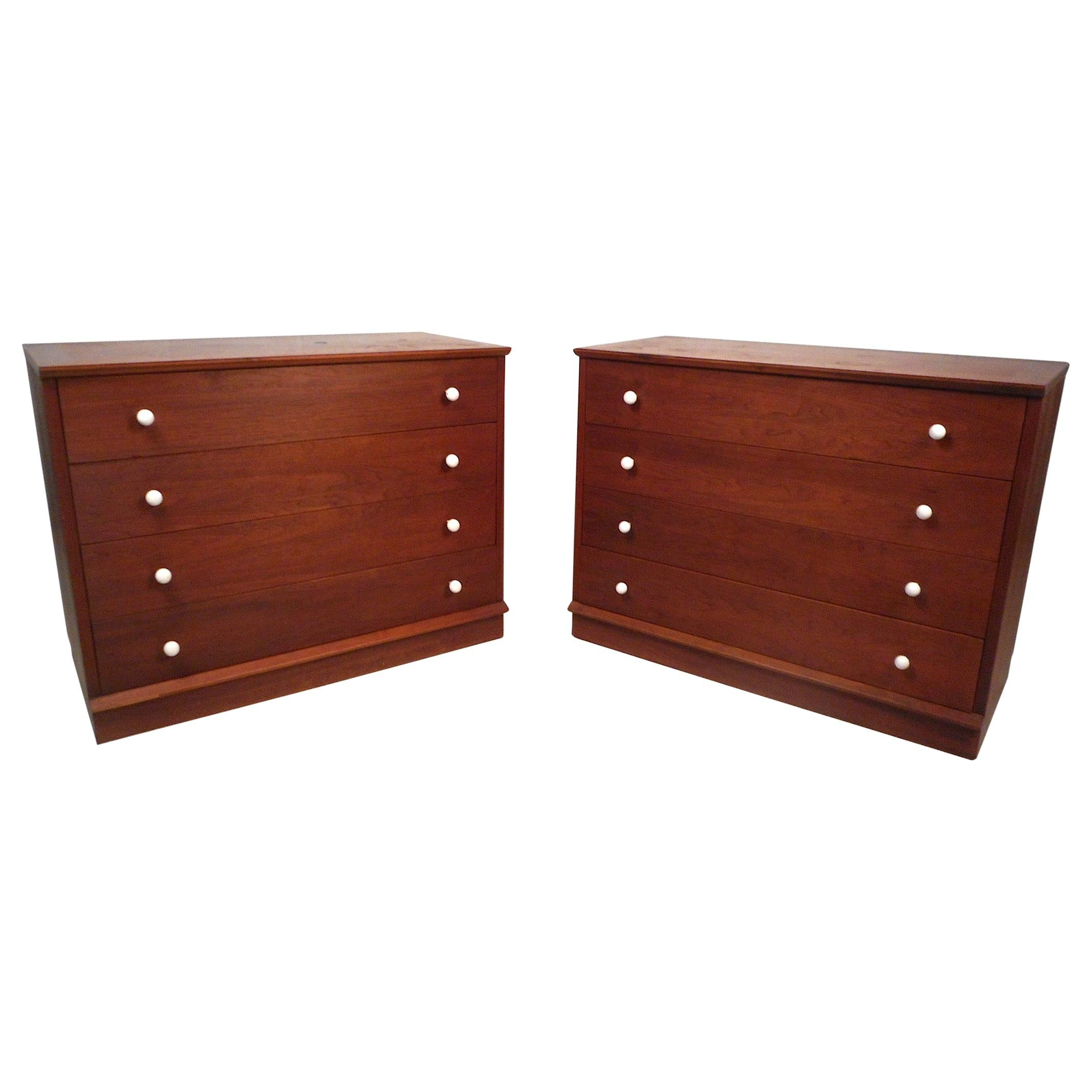 Midcentury Four-Drawer Commodes, a Pair