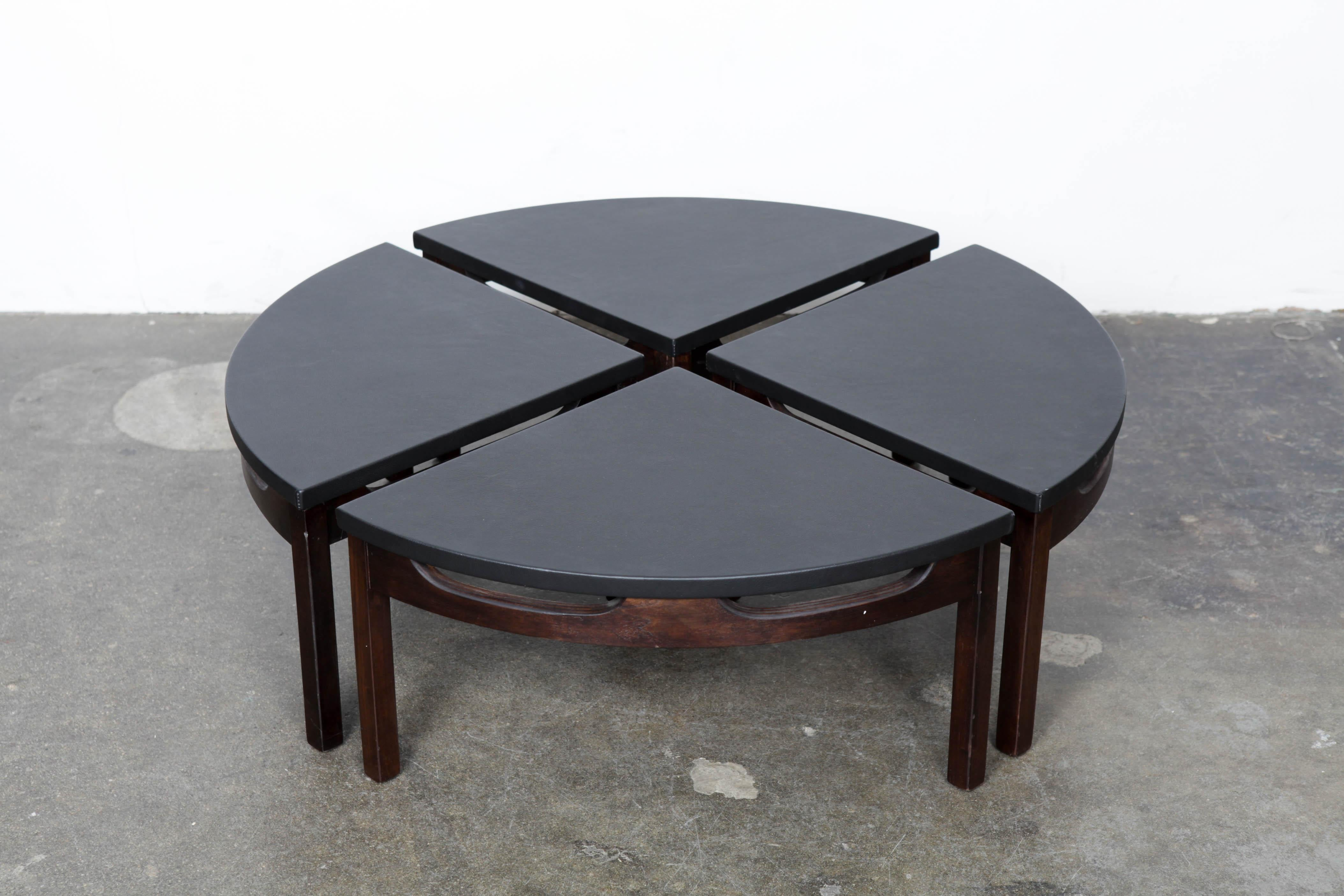 Unique Walnut And Leather Top Round Coffee Table, 1960s, That Separates  Into 4 Pie