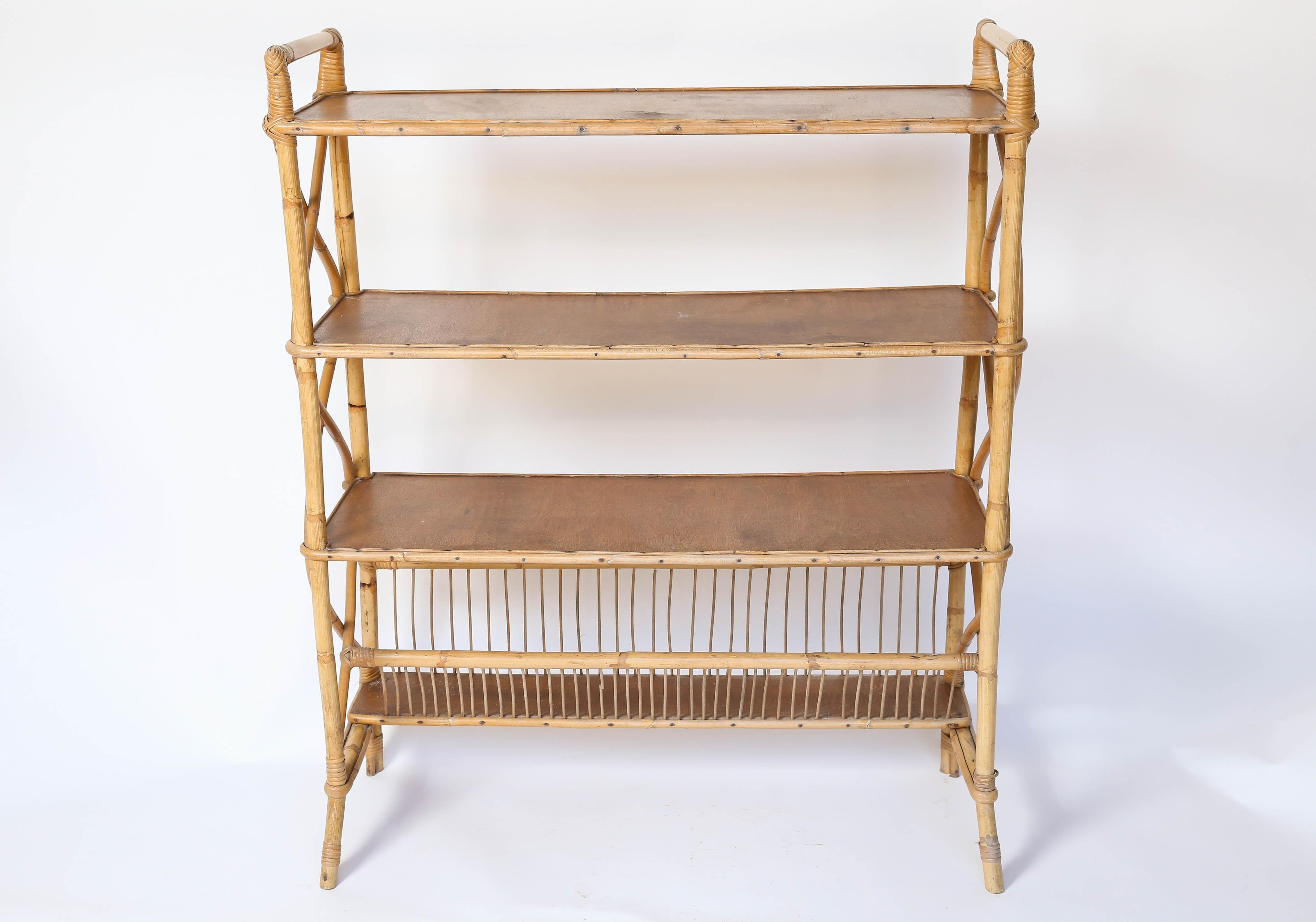 Midcentury Four Tier Rattan Shelf At 1stdibs