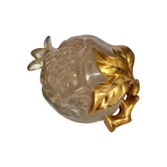 Midcentury Fractured Lucite and Gilt Pomegranate Fruit Sculpture
