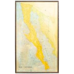 "Mid-Century Framed ""Baja California"" Map, c.1967"