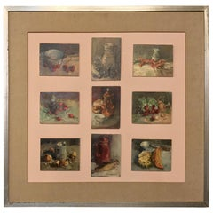 Midcentury Framed Montage of 9 Small Oil Culinary Still Life Paintings