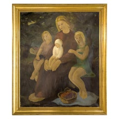 Mid-Century Framed Oil Painting on Canvas by Marcel Dumont, Dated 1943