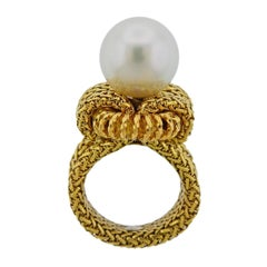 Midcentury France South Sea Pearl Gold Ring