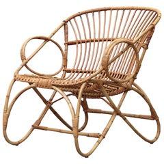 Mid-Century Franco Albini Style Bamboo Lounge Chair