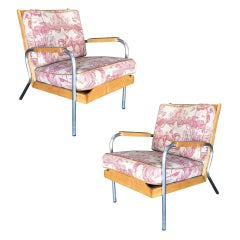 Midcentury Francois Caruelle Style Blonde Lounge Chair, Pair