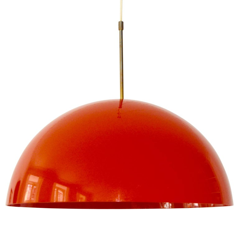 Danish Midcentury Frank Bentler Red Acrylic Pendant For Sale