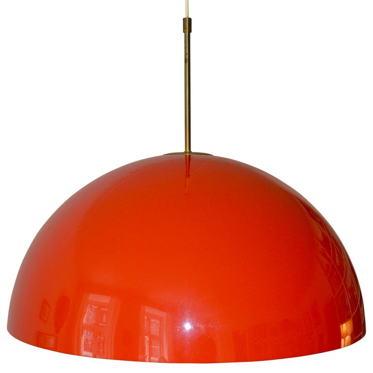 Midcentury Frank Bentler Red Acrylic Pendant In Good Condition For Sale In Copenhagen, K