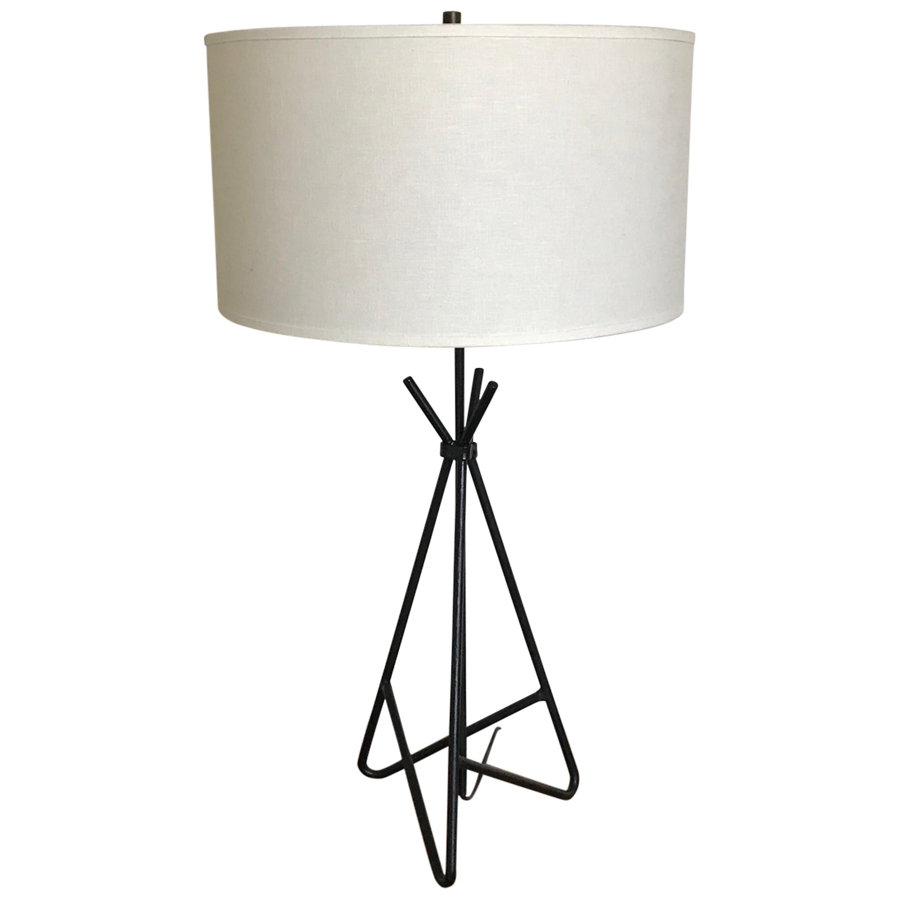 Mid Century Frederic Weinberg Black Wrought Iron Table Lamp, 1950s