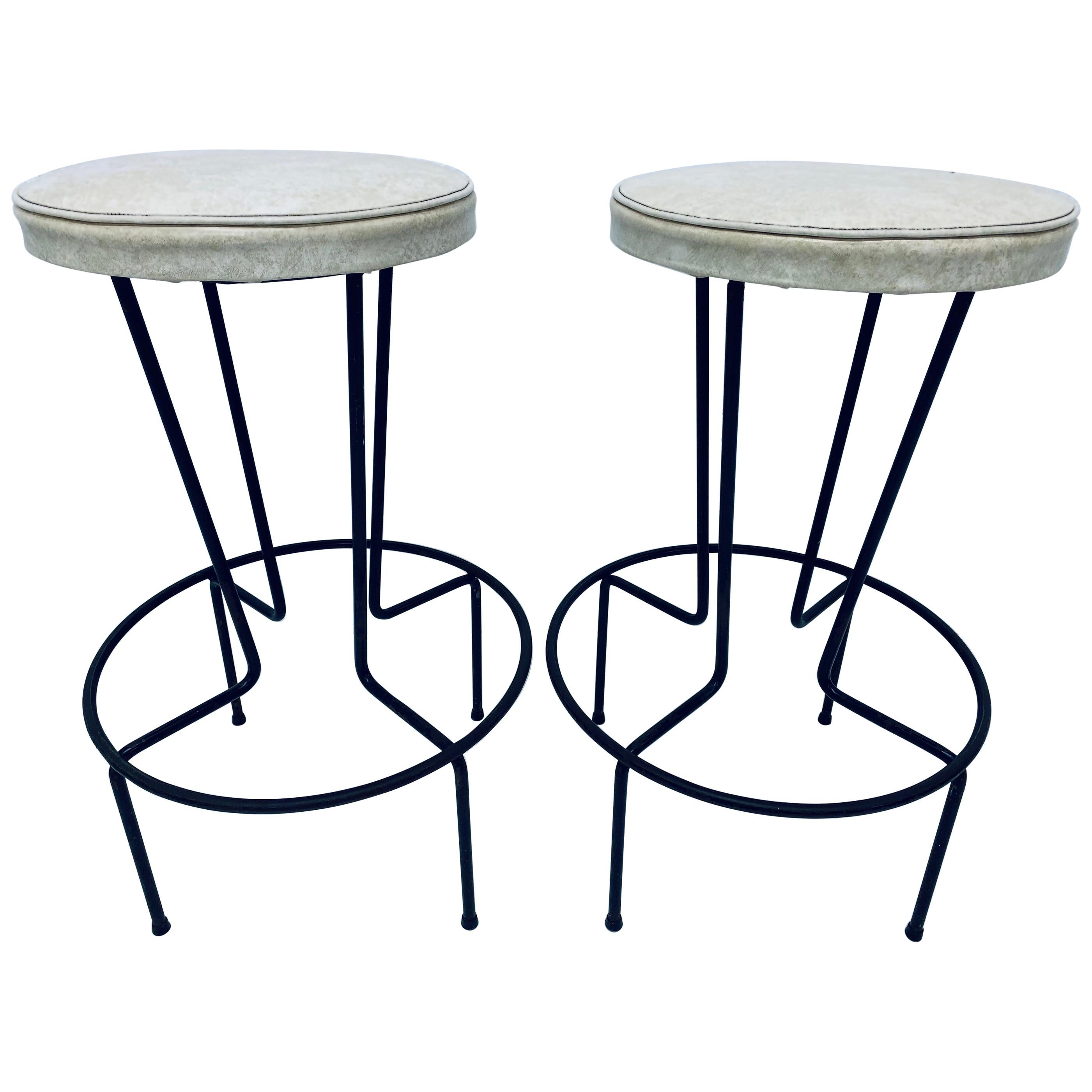 Mid-Century Frederick Weinberg Wrought Iron Bar Stools, a Pair