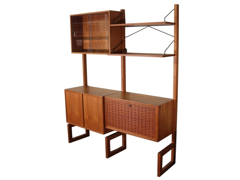 Mid-Century Modern Midcentury Free Standing Teak Wall Unit by Cadovius Cado Shelving