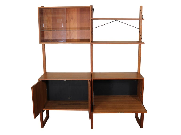Danish Midcentury Free Standing Teak Wall Unit by Cadovius Cado Shelving