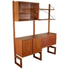 Midcentury Free Standing Teak Wall Unit by Cadovius Cado Shelving