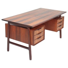 Midcentury Freestanding Desk in Rosewood by Omann Jun, Danish Design, 1950s