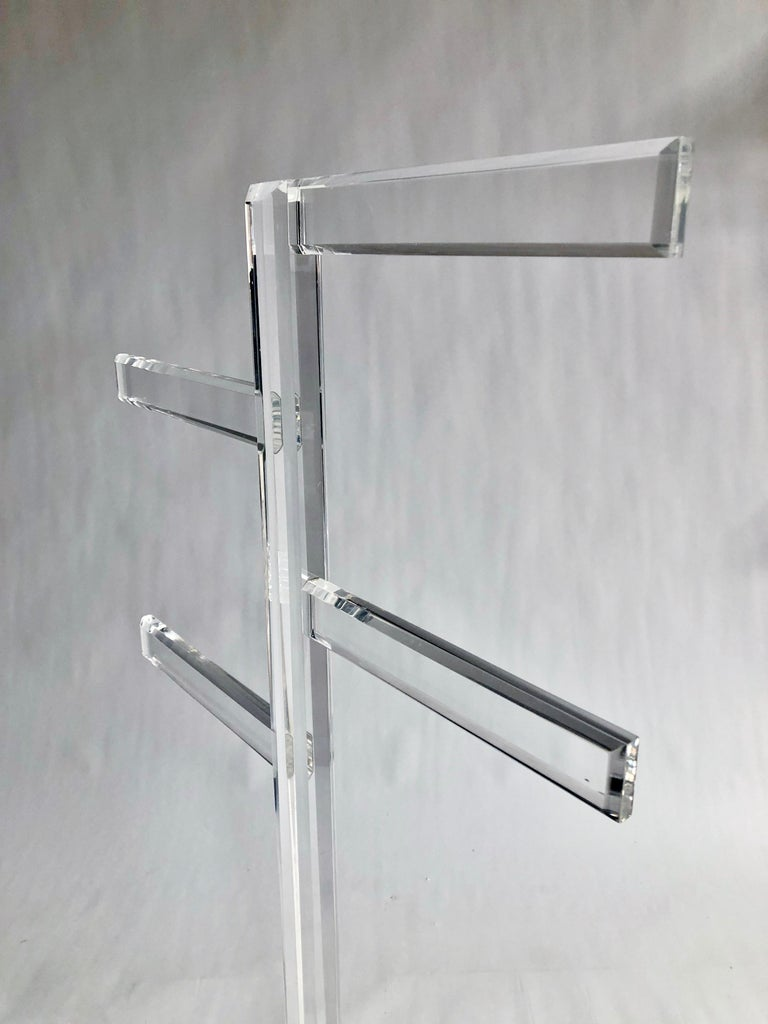 Late 20th Century Midcentury Freestanding Lucite Rack For Sale