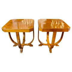Midcentury French Art Deco Alderwood Side Tables